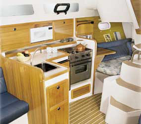 The galley and part of the aft cabin